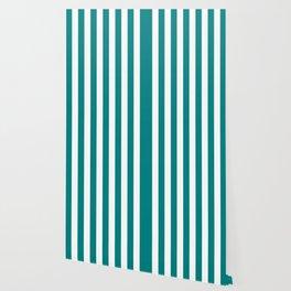 Vertical Stripes (Teal/White) Wallpaper