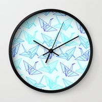 origami Wall Clocks featuring Origami by StudioBlueRoom