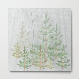 Pine forest on weathered wood Metal Print