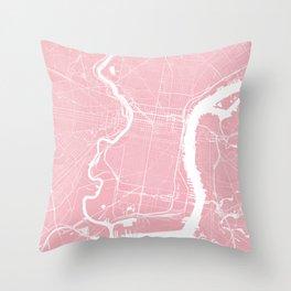 Pink City Map of Philadelphia, PA Throw Pillow