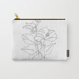 Floral one line drawing - Hibiscus Carry-All Pouch