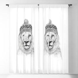 Winter lion (bw) Blackout Curtain