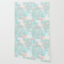 Summer Mood with Chevron and Palms Wallpaper