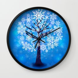 Snowflakes tree background Wall Clock