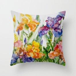 Multicolored iris Throw Pillow