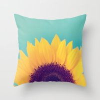 sunflower Throw Pillows featuring Sunflower by Debbie Wibowo