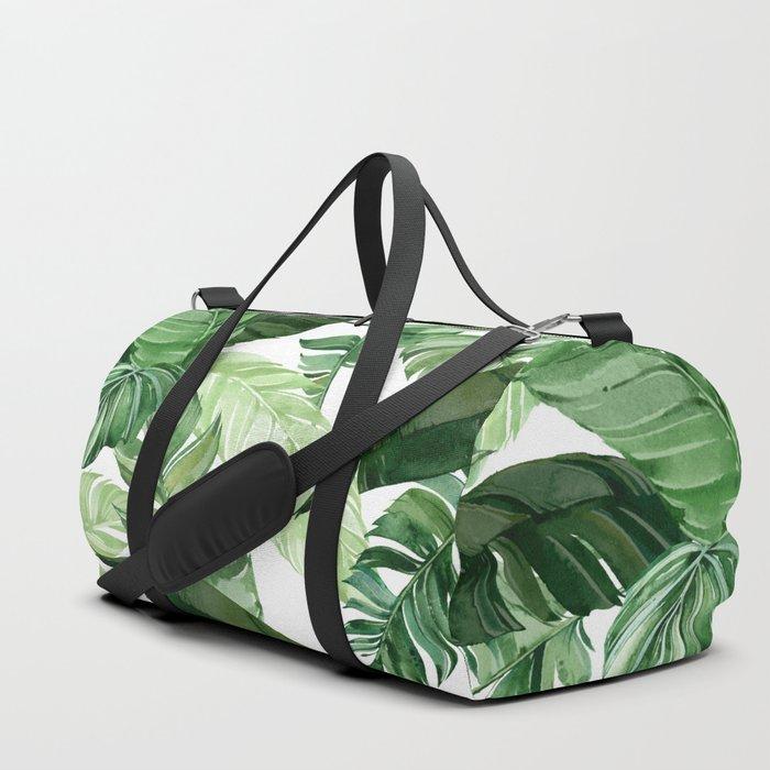 Green leaf watercolor pattern Duffle Bag