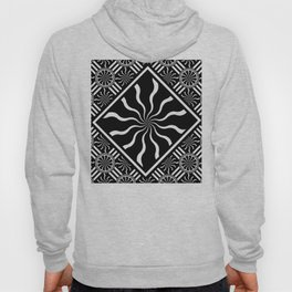 Wavy Black and White Diamond Pinwheels and Stripes 2 Digital Illustration Artwork Hoody