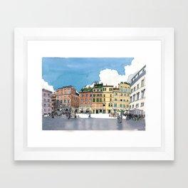 Piazza di Santa Maria, Trastevere, Rome. Framed Art Print
