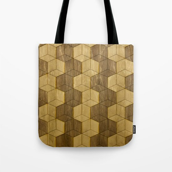 Wooden Zig Zag Optical Cubes Tote Bag