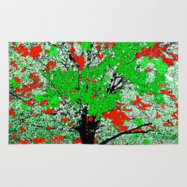 TREE RED AND GREEN LEAF Rug