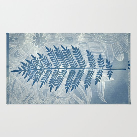Jacaranda Leaf in Blue, Cream, Grey Rug