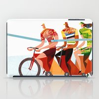 tour de france iPad Cases featuring Bicycle Tour de France Tandem for Three by Gregory Baldwin