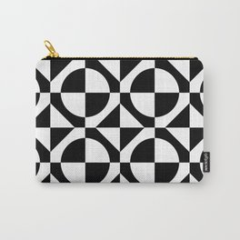 Black & White Checkered Squares & Circles 60's Two Tone Ska Pattern Carry-All Pouch