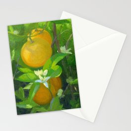 Orange Tree with Oranges and Blossoms Stationery Cards