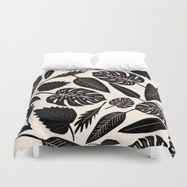 Monstera pattern in black and pastel Duvet Cover