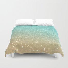 Sparkling Gold Aqua Teal Glitter Glam #1 #shiny #decor #society6 Duvet Cover