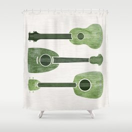 Hawaiian Ukuleles - Emerald Green Shower Curtain