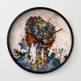 floral animals wolf Wall Clock