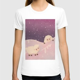 Cartoon Baby Sheep, Red Violet Snowy Bokeh Background T-shirt