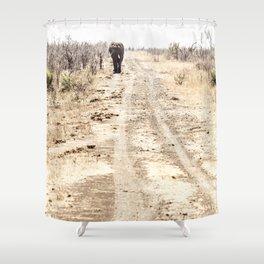 Elephant Walking Down Road Shower Curtain