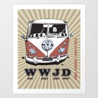 WWJD ?   What  Would Jesus Drive ? Art Print