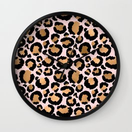 Animal print - pink copper Wall Clock
