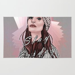 Slay Errday Tuff Girl Illustration Rug