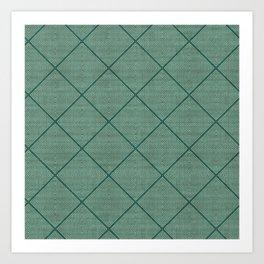 Stitched Diamond Geo Grid in Green Art Print