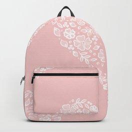 Millennial Pink Blush Rose Quartz Hearts Lace Flowers Pattern Backpack