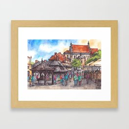 Town view ink & watercolor illustration Kazimierz Dolny Poland Framed Art Print