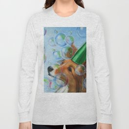 Party Girl Sheltie Dog Painting Long Sleeve T-shirt