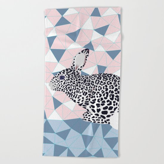 Cute Rabbit Leopard Pattern Design Beach Towel