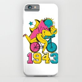 A reworked Bicycle acid 1943 on a tie dye background. iPhone Case