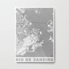 Rio de Janerio Map Line Metal Print