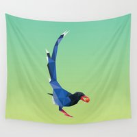low poly Wall Tapestries featuring Low-poly blue bird by fortyfive