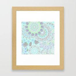 Spring Explosion: Bright Green and Blue Mandala Pattern Framed Art Print