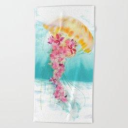 Jellyfish with Flowers Beach Towel