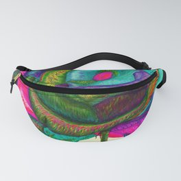 Pinkie Teal Neon Rose (Rainbow Roses) Fanny Pack