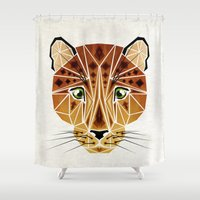 leopard Shower Curtains featuring leopard by Manoou