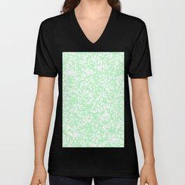 Small Spots - White and Light Green Unisex V-Neck