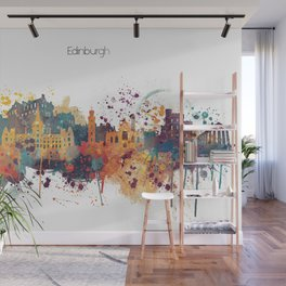 Edinburgh Watercolour Skyline Wall Mural