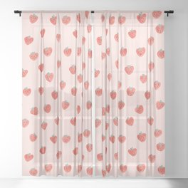 Strawberries on Pink Sheer Curtain