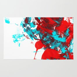 Teal and Red Abstract Rug