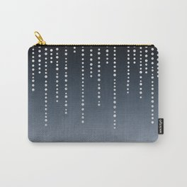 Rhinestone Faux Glitter Line On Dark Blue Carry-All Pouch