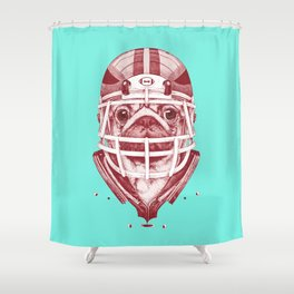 American Pug Football Red Shower Curtain