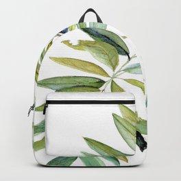 Leaves Berries Sage Green Turquiose Nature Art Floral Watercolor Backpack