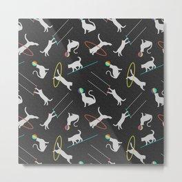 Acrobatic Cats in Dark Grey Metal Print