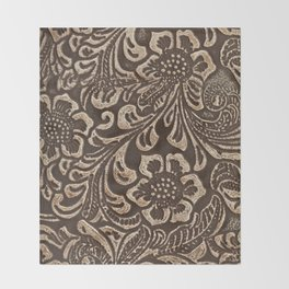 Gold & Brown Flowered Tooled Leather Throw Blanket