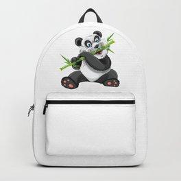 Cartoon Panda Bear Eating Backpack
